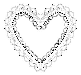 Indian Filigree Dotted Ornament - Vector Openwork Heart Frame