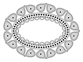 Indian Filigree Dotted Ornament - Vector Oval Frame with Paisley