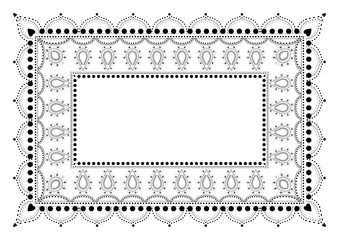 Indian Filigree Dotted Ornament - Vector Frame with Paisley