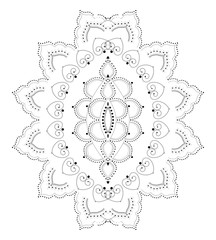 Indian Filigree Dotted Ornament - Vector Delicate Oval Lotus Flower