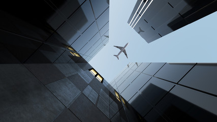 Plane flying over generic modern glass and concrete office buildings . Concepts of finances and economics background. 3d rendering . Wall mural