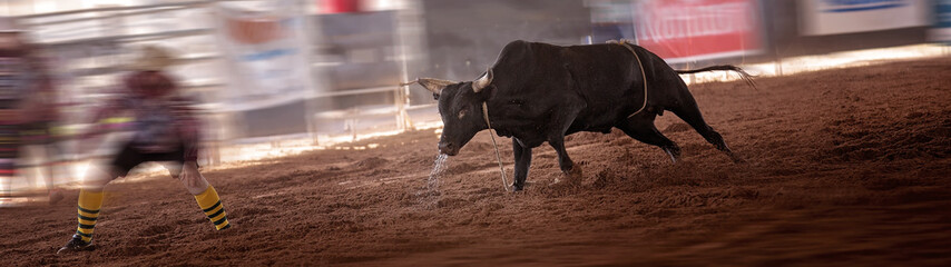 Angry Bull Confronts Bullfighter At Rodeo