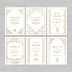 Luxury wedding invitation or greeting card with geometric ornament. Art Deco style. Paper envelope template. Wedding invitation envelope mock-up for laser cutting. Vector illustration.