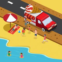 summer ice cream on a beach