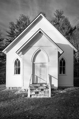 White Country Church in Black and White