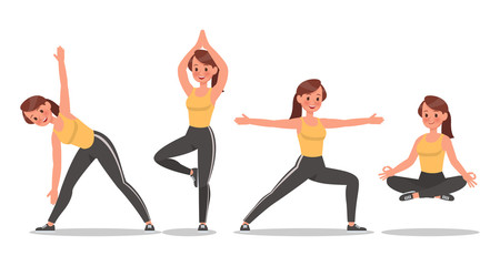 Fitness woman doing yoga character vector design. Healthy lifestyle