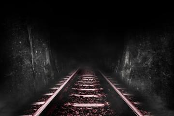 Dark tunnel of the railway