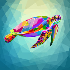 colorful turtle floating underwater in the geometric blue water ocean
