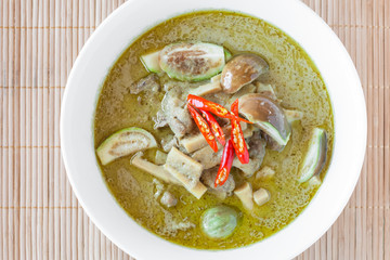 Green chicken curry with eggplant and pickled bamboo shoot. Green curry is a Central Thai variety of curry