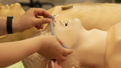 Photograph demonstrate measurement of a proper size of nasal airway