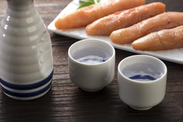 日本酒と辛子明太子