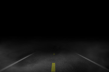 Self adhesive Wall Murals Night highway The lonely road fog at night