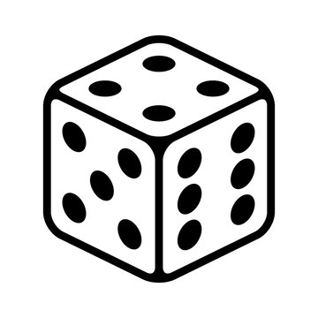 Six sided dice / die for casino gambling line art vector icon for apps and websites