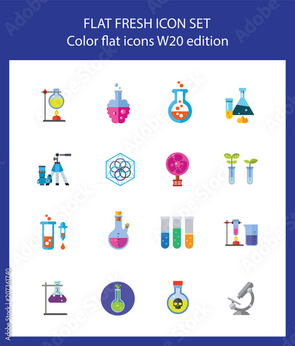 Icon Set Of Laboratory Equipment For Chemical And Medical Research