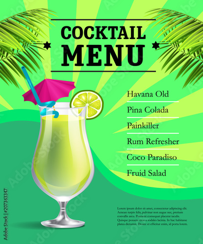 cocktail menu poster template design glass with drink and lime and