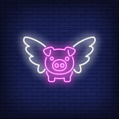 Flying pig cartoon character. Neon sign element. Night bright advertisement. Vector illustration for restaurant, cafe, diner, menu, advertising design