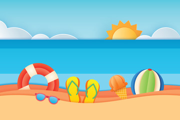 Summer time sea view with equipment placed on the beach and sky background. Paper art and craft style. Vector illustration of life ring, sunglass, ice cream, beach ball, sandals.