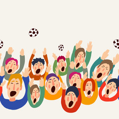 Football vector fans, cute colorful seamless border, abstract greeting card. Goal Hooray