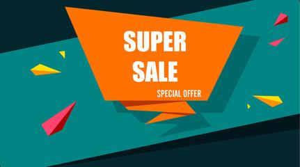 Orange and green super sale paper background.