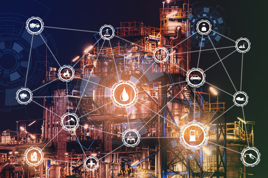 4.0 advanced industrial concept The industry has cyber icons and internet applications. Industrial equipment in factories with icons, networking, Internet of things and smart factory solutions.