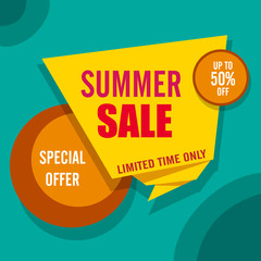Yellow, orange and green summer sale poster.