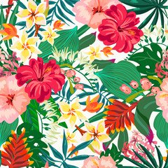Vector summer natural vintage exotic seamless pattern with tropical leaves, leaves, flowers, hibiscus, orchid. Botanical illustration