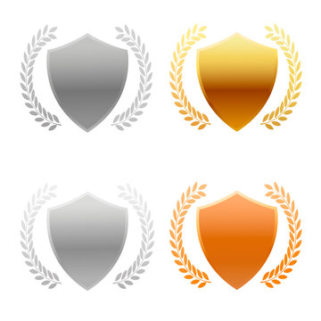 The shield is gold , silver, gold, silver and platinum with a wreath.