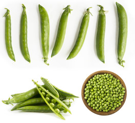 Set of green peas. Fresh green peas on a white background. Studio photo. Isolated macro food photo close up from above on white background.