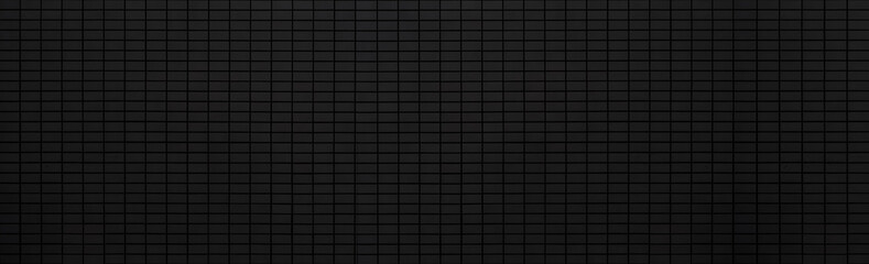 Panorama of black stone brick wall background