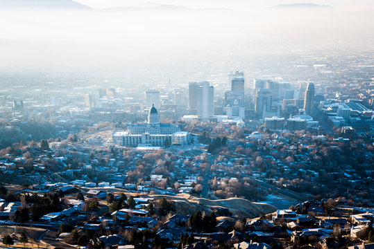 Aerial shot of Salt Lake City with downtown on the background