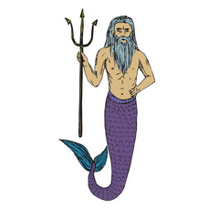 Neptune holding trident, hand drawn outline doodle sketch, vector illustration