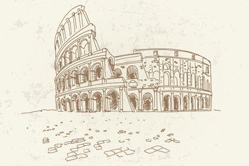 Fotomurales - Vector sketch of The Coliseum or Flavian Amphitheatre, Rome, Italy. Retro style.