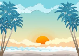 Coconut tree on sunshine and seascape background - Illustration