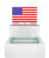 ballot box with the US flag. Presidential or parliamentary elections in the United States. 3d illustration