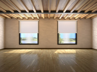 empty large room with windows and beams on the ceiling. 3d illustration