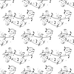 note pattern. vector seamless pattern musical notes, black and white