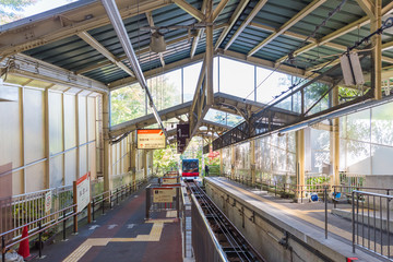 HAKONE, JAPAN - NOVEMBER 5, 2017: View of the red train at the railway station. Copy space for text.