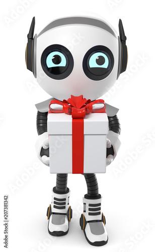 3d Roboter Mit Geschenkpaket Stockfotos Und Lizenzfreie Bilder Auf