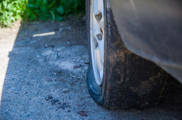 flat tire in the car