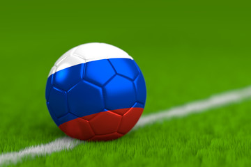 Soccer Ball With Russian Flag 3D Render
