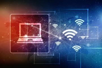 2d illustration WiFi symbol with laptop