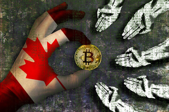 Bitcoin cryptocurrency Canada flag Golden Coin of Bitcoin in the Canadian flag hand giving coin in to hands of poor people Grunge background with binary code of matrix effect