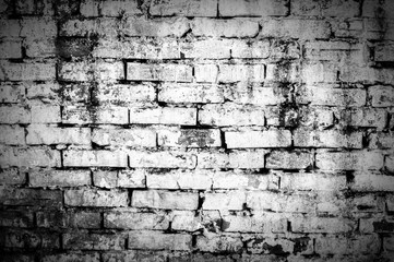 old brick wall in dark white tones