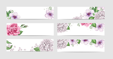 Rose Floral Banner Template In Watercolor Style