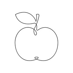 One line apple design. Hand drawn minimalism style vector illustration.