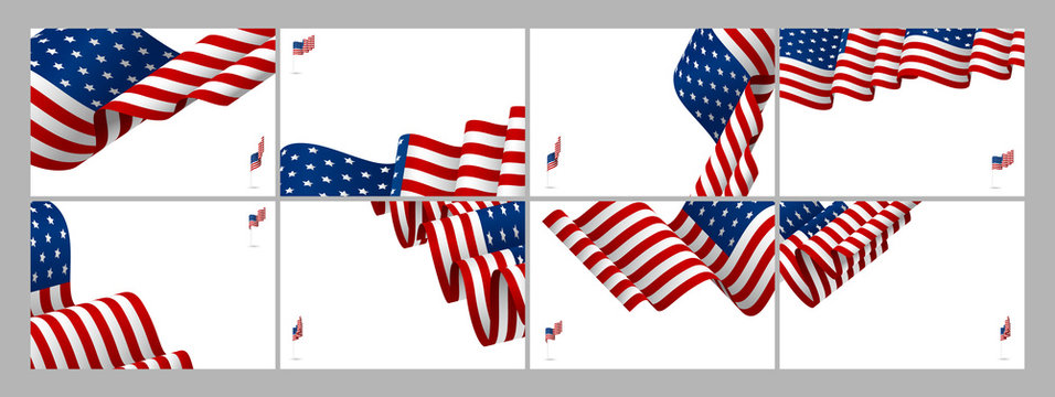 Set of USA banner background design of american flag wave with copy space vector illustration
