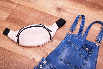 Denim overalls and belt bag