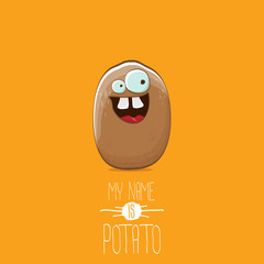 vector brown potato cartoon character isolated on orange background. My name is potato vector concept illustration. funky summer vegetable food character