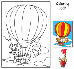 Two little mice are traveling in a hot air balloon. Coloring book. Cartoon vector illustration