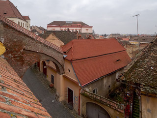 View over a medieval street in Sibiu, Romania